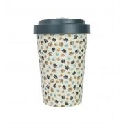 Woodway coffee to go beker bamboe dierenpootjes - grijs - 400 ml