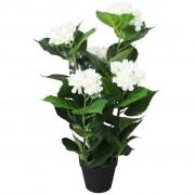 vidaXL Umjetna Hortenzija s Posudom 60 cm Bijela