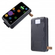 Waterproof Folding 4 Solar Panels 12000mAh Power Bank with Two USB + Wireless Charger - Black