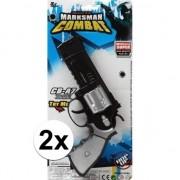 Merkloos 2x stuks Politie/militair speelgoed pistolen 35 cm