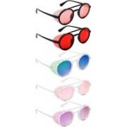 NuVew Round, Shield Sunglasses(Orange, Red, Green, Blue, Pink, Violet)