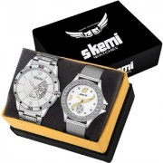 Skemi Analog Round White Dial Men-Woman Watch / Fashionable Couple Watch / Watches For Couple Combo-060