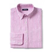ランズエンド LANDS' END メンズ・リネン・シャツ/ロールアップ袖(ピンクダリアストライプ)