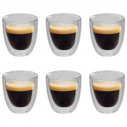 vidaXL Double Wall Thermo Glass for Espresso Coffee 6 pcs 80 ml