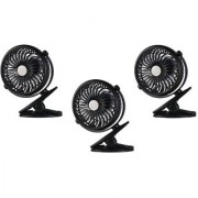 SUREELEE Set of 3 360 Degree Rotate Rechargeable Clip Handy Mini USB Fan (BLACK)