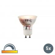 LUEDD Uppsättning av 5 LED-lampor GU10 5W 2000-2700K Dim till varm