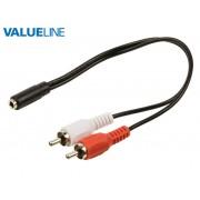 Valueline VLAP22255B02 3,5mm jack aljzat - 2xRCA dugó kábel 20cm