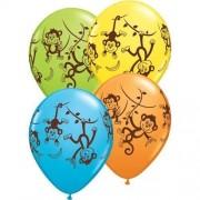 Ballonnen met tropische aapjes 6 stuks