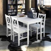 vidaXL Fából Készült Asztal 4 Fából Készült Székkel / étkező garnitúra Fehér