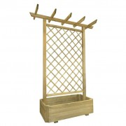 vidaXL Plantador de jardim com pérgula 162 x 56 x 204 cm madeira