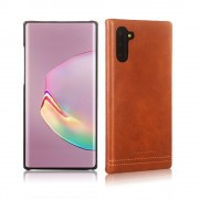 PIERRE CARDIN Genuine Leather+PC Casing for Samsung Galaxy Note 10 / Note 10 5G - Brown