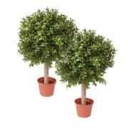 Bellatio flowers & plants 2x Buxus bol kunstplanten op stam in pot 35 cm