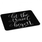 100yellow Mouse Pad | Let The Travel Begin Quote Printed Mouse Pad Anti Skid Mouse Pad for Desktop and Laptop Computer-Black