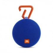 JBL Clip 2 - водоустойчив безжичен портативен спийкър (с карабинер) с микрофон за мобилни устройства (син)