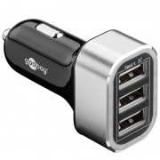 Alimentator USB bricheta auto Goobay, 3 iesiri, 5.5 A, negru
