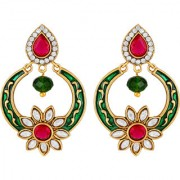Sukai Jewels Pink Pearl Floral Gold Plated Zinc Cz AD Studded Dangle and Drop Earring for Women & Girls [SER222G]
