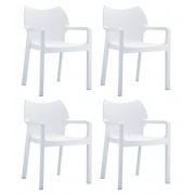 24Designs Set 4 Tuinstoelen Diva Stapelbaar - Wit