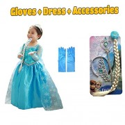 Complete Set - frozen Elsa fancy dress costume gown b'day birthday gift with accessories (2 to 4 yrs) christmas xmas dress by Fancy Steps