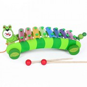 Mayatra's Classic Wooden Cartoon Drag Piano 8 Notes Xylophone For Kid's Multi color
