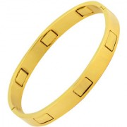 The Jewelbox Bullet Geometric Stainless Steel Gold Plated Openable Kada Bangle Bracelet For Men