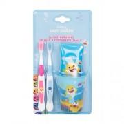Pinkfong Baby Shark zestaw Szczoteczka do zębów 2 szt + Pasta do zębów 75 ml + Kubeczek na szczoteczki dla dzieci