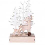 Decorațiune LED de Crăciun Cerbi în pădure, din lemn, 11 x 5 x18,2 cm