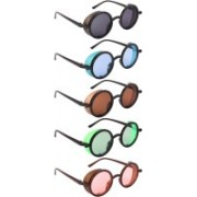 NuVew Round, Shield Sunglasses(Black, Blue, Brown, Green, Orange)