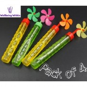Wellbeing Within Water Bubble Stick with Windmill Colorful Fan Toy For Birthday Celebration (Pack of 4)