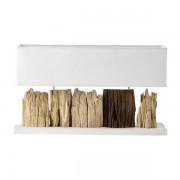 Maisons du monde Lámpara de madera y pantalla de algodón blanco Al. 46 cm PRANBURI