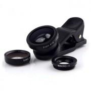 Obiectiv superangular Fisheye Lens 3 in 1 universal (Negru)
