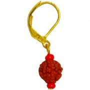 Men Style Big Bali Rudraksha Gold Wood Earring For Men