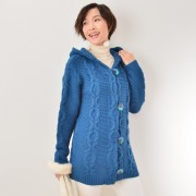 calma リッチなバルキーケーブル編み ニットパーカー【QVC】40代・50代レディースファッション
