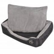 vidaXL Кучешко легло с подплатена възглавница, размер S, черно