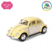 Smiles Creation Kinsmart 1:32 Scale 1967 Volkswagen Classical Beetle Ivory Door Classic Car Toy, Yellow (5-inch)