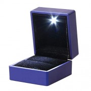 LED Lighted Jewelry Gift Box Lighting Ring Box Holder Case with Light for Jewelry Display (Blue)