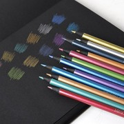 Metallic Colored Pencils Non-toxic Black Wood Drawing Pencils Pre-Sharpened 12 Assorted Colors Wooden Sketching Pencil Set Premium Art Pencils for Kids Children Adults Artists Coloring Book Art Craft by Starsouce