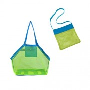 TOYMYTOY 2pcs Beach Mesh Tote Bag Waterproof Sand Toys Shell Bag for Beach Family Children Play (Size Small and Size Large with Blue Belt Green Net)