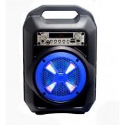 Hordozható hangszóró Bluetooth multimédia lejátszó akkumulátorral LED hangszóróval karaoke mikrofonnal Mp3,FM-Rádió, 3,5 jack, USB, Micro SD kártya - B102