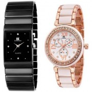 Katrodiya Round And Square Dail Black And Rose Gold Metal And Stainless Steel StrapMens Quartz Watch For Men