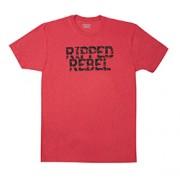 RIPPED REBEL MEN'S COMBED RING SPUN CREW NECK T-SHIRT (Red MD)