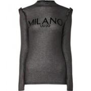 Liu Jo Lurex top met lage col en flockprint