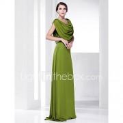 A-lijn Spaghettibandjes Wijde col Strijksleep Chiffon Schoolbal Formele avonden Militair gala Jurk met Plooien door TS Couture