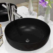vidaXL Keramické umyvadlo kulaté černé 41,5 x 13,5 cm