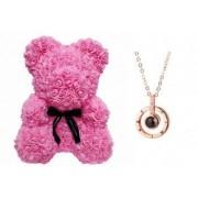 Ursulet Rose Bear din Trandafiri Roz + Lantisor cu Pandantiv inscriptionat Te Iubesc I Love You in 100 de limbi inaltime 40cm
