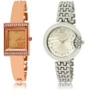 The Shopoholic Rose Gold Silver Combo Latest Collection Fancy And Attractive Rose Gold And Silver Dial Analog Watch For Girls Watches For Women Leather