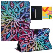 Pattern Printing Leather Wallet Stand Tablet Case for iPad 10.2 (2019) - Colorful Flower