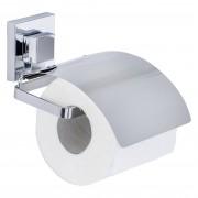 Douche Concurrent Toiletrolhouder Wenko Quadro Vacuumloc Metaal Chroom Glanzend met Klep 13x11.5x14cm