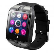 "Ceas smartwatch Q18 functie telefon, cu sim, ecran 1.54"", camera foto, ecran curbat, carcasa metalica, BT 3.0, Facebook, SMS, negru"
