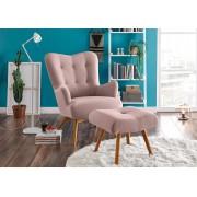 Lifestyle4Living Sessel mit Hocker in rosafarbenem Webstoff bezogen mit Schaumstoffpolsterung, Füße aus Massivholz, Maße: B/H/T ca. 77/101/100 cm