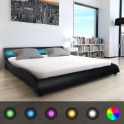 vidaXL vidaxL 180x200 cm-es fekete műbőr ágy matraccal és LED megvilágítással